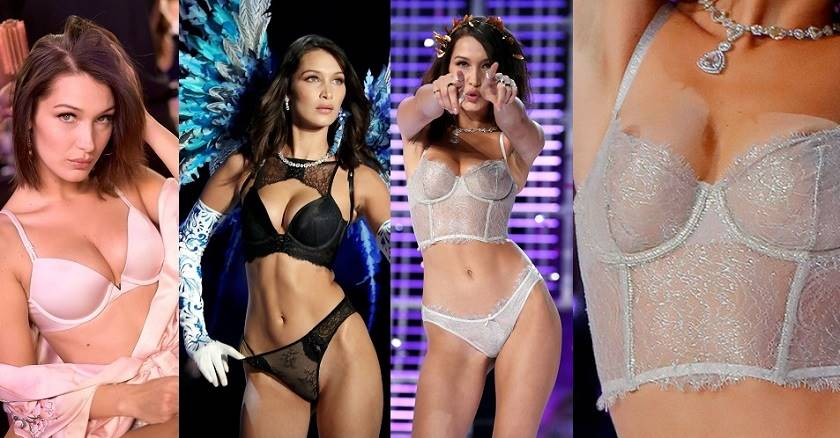 Bella Hadid – Nip Slip at 2017 Victoria's Secret
