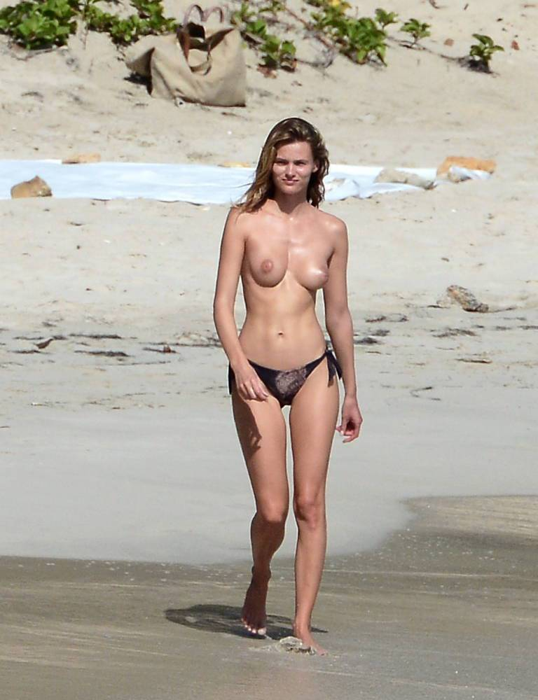 Topless beach models